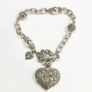 Silver tone heart charm toggle necklace